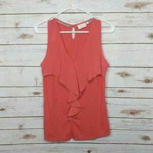 Anthropologie (Deletta) Coral Ruffle Tank Top
